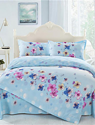 Mingjie® Blue Flowers Queen and Twin Size Sanding Bedding Sets 4pcs for Boys and Girls Bed Linen China Wholesale