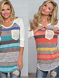 CEN     Women's Striped Multi-color T-Shirts , Casual Round Long Sleeve