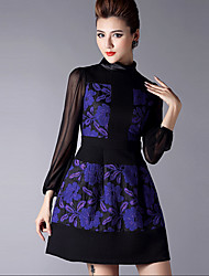 Women's Patchwork Blue Dress Vintage  Party Round Neck Long Sleeve