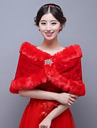Red Classic Sleeveless Wedding Wraps Imitation Cashmere Capelets