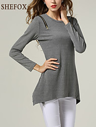 Women's Solid Black / Gray Pullover , Sexy / Casual / Party / Work Long Sleeve SF9B11