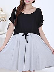 Vestido de maternidad Mini Algodón - Escote Redondo Manga Corta