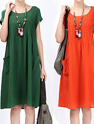 Large size   Women's Character Green Dresses , Casual Round Short Sleeve