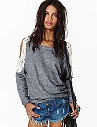 SEXY Women's Color Block Gray Sweats & Hoodies , Vintage / Sexy / Casual / Work Round Long Sleeve