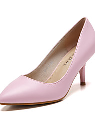 Women's Shoes Leather Kitten Heel Heels / Pointed Toe / Closed Toe Heels Dress More Colors Available