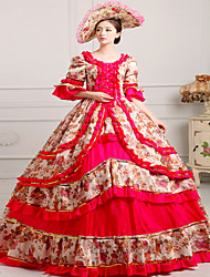 One-Piece/Dress Gothic Lolita Steampunk® / Rococo Cosplay Lolita Dress Red Print / Vintage Long Sleeve Long Length Hat For WomenSatin /