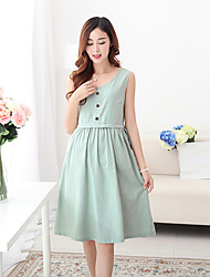 Round Neck Maternity Dress , Cotton Mini Sleeveless