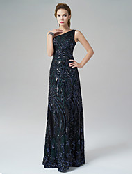 Formal Evening Dress - Dark Green A-line One Shoulder Floor-length Satin