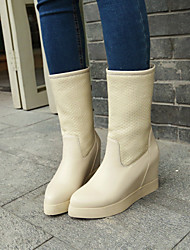 Women's Shoes Wedge Heel Rain Boots/Fashion Boots/Round Toe Boots Dress/Casual Red/Beige