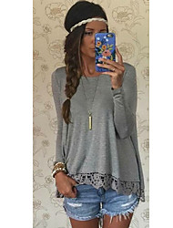 SEXY Women's Lace Gray T-Shirts , Vintage / Sexy / Casual / Lace Round Long Sleeve