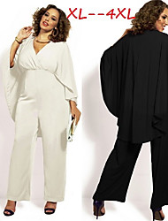 Women's Solid White/Black Plus Size Jumpsuit , Sexy/Casual V-Neck Short Sleeve