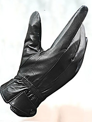 Men's Outdoor Sports Motorcycle Cycling Black Leather Full Fingers Warm Gloves