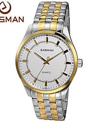 EASMAN® Brand Watches Men Gold White Dial Analog Quartz Wristwatch Luxury Designer Gold Plated Stainless Steel Men Watch Cool Watch Unique Watch