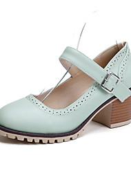 Women's Shoes  Chunky Heel Heels/Round Toe Pumps/Heels Casual Blue/Pink/Beige