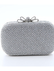 Women Bags All Seasons Polyester Satin Evening Bag with Crystal/ Rhinestone for Wedding Event/Party Gold Black Silver