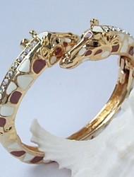Unique Deer Giraffe Bracelet Bangle With Clear Rhinestone crystals