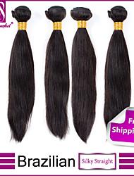 4Pcs Brazilian virgin hair straight Unprocessed brazilian straight hair extension human hair weave For Sale
