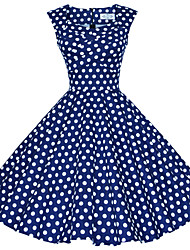 Maggie Tang Women's 50s VTG Retro Polka Dot Rockabilly Hepburn Pinup Business Swing Dress 567