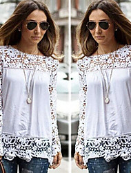 Enaco Women's Lace White Tops & Blouses , Sexy / Casual / Work Round Long Sleeve