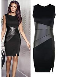 Women's Patchwork Black Dresses , Casual Round Sleeveless