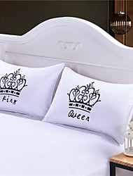 Royal Crown Pillow Cases Queen King Designer Pillow Covers Decorative Couple Shams Set of 2 for Gift