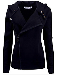 Women's Zipper Design Solid Color Hooded Sweater Coat