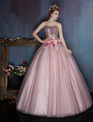 Dress Ball Gown Sweetheart Floor-length Satin / Tulle with Beading / Flower(s)