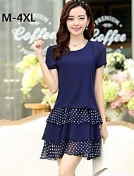 Women's Polka Dot Blue/Black Dress , Casual/Plus Sizes Round Neck Short Sleeve