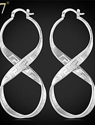 U7® Women's Infinity Shape Earrings for Prom Platinum/18K Gold Plated Twisted Hoops G Pattern Vintage Long Earrings