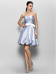 Knee-length Taffeta Bridesmaid Dress - Silver A-line Sweetheart