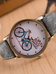 Jeans Band Wristwatches Students Brand New Watch For Boys And Girls Quartz Retro Clock Of The Cute Bike Pattern Dial
