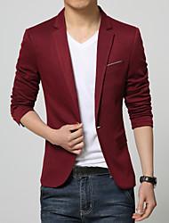 Masculino Blazer Casual / Escritório / Formal Cor Solida Manga Comprida Algodão Preto / Azul / Vermelho / Cinza