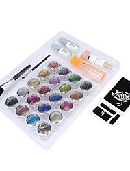 1 set kit de tatuaje brillo temporal para el cuerpo de pintura de arte con plantillas, pegamentos y cepillos