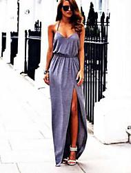 Women's Solid Color Gray Dresses , Sexy / Beach Round Midi