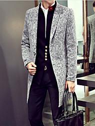 Men's Long Sleeve Regular Trench coat , Cotton Plaids & Checks