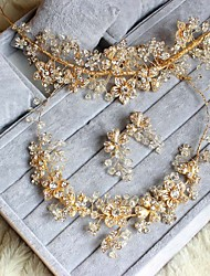 The Bride Headdress Three-Piece Necklace High-end Luxury Pure Manual Golden Wedding Jewelry Set
