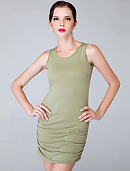 Women's Solid Black/Green Dress, Sexy/Bodycon Tank Sleeveless Ruched