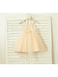 A-line Knee-length Flower Girl Dress - Tulle Sequined Spaghetti Straps with Bow(s) Sash / Ribbon Sequins
