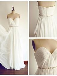 A-Linie Hochzeitskleid Boden-Länge Herzausschnitt Chiffon mit Schärpe / Band