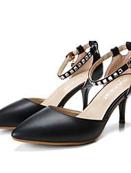 Damen-High Heels-Kleid / Lässig-Kunstleder-Stöckelabsatz-Absätze / Spitzschuh / Sandalen-Schwarz / Weiß / Mandelfarben