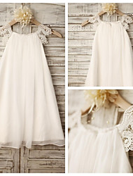 Sheath Knee-length Flower Girl Dress - Chiffon / Lace Sleeveless