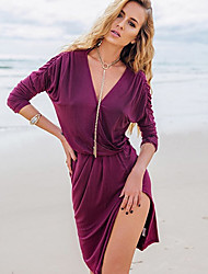 CEN     Women's Solid Color Purple Dresses , Sexy / Bodycon / Casual / Party V-Neck Long Sleeve