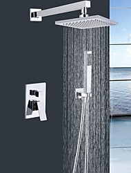 """Shengbaier® Shower Faucet Chrome Wall Mounted Double Handles Brass with 8"""" Square Shower Head and Hand Shower"""