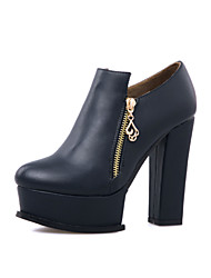 Women's Shoes Chunky Heel Platform / Fashion Boots / Bootie / Round Toe Boots Dress / Casual Black / White / Navy