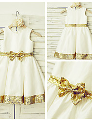 A-line Knee-length Flower Girl Dress - Taffeta / Sequined Sleeveless