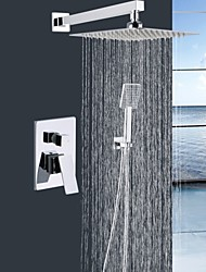 "Shengbaier® Wall Mounted 10""Square Head Wall Mount Brass Mixer Valve handheld Bathroom Shower set"