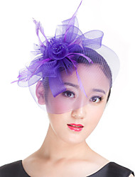 Lady Polyester Mesh Feather Flowers Fascinators Hat for Wedding Party Black/Lavender/Beige