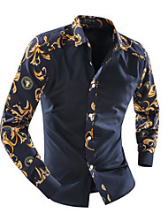 Men's Fashion British Style Flower Print Slim Fit Long-Sleeve Shirt