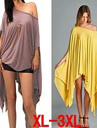 Plus Size (S-3XL)Women's Plus Size Dresses , Vintage / Sexy / Beach / Casual / Cute / Party Round Long Sleeve VICONE