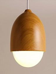 Droplight Lamp 1 Light Modern  Original Wood Color Metal and Glass